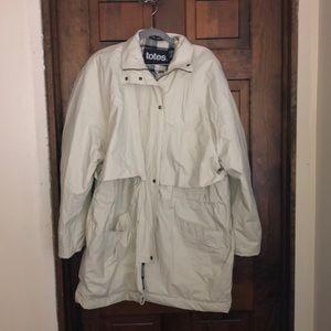 Cream colored flannel lined raincoat